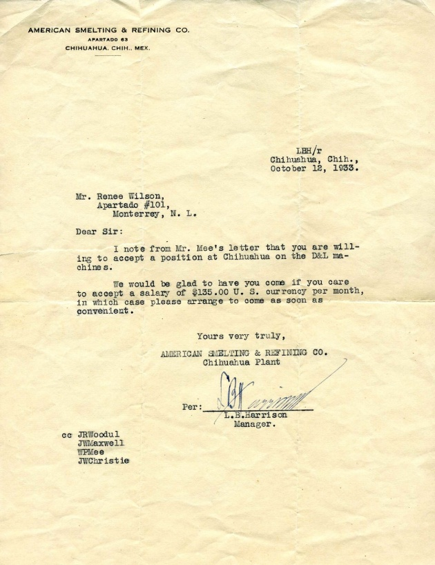 1933 Letter of Employment at ASARCO Avalos