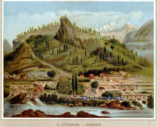 Vignette from 1885 map showing El Septentrion Chihuahua
