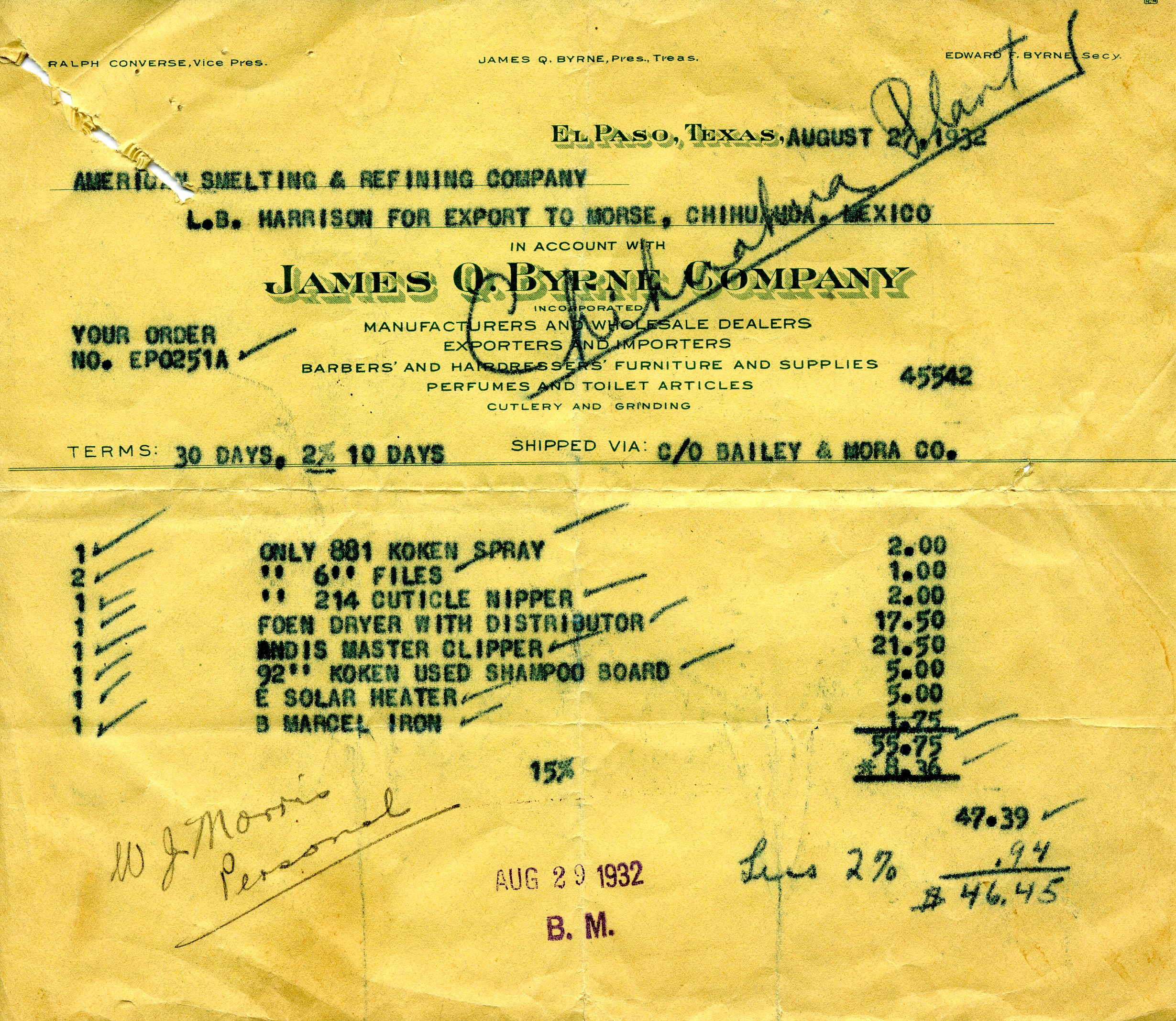 1932 Invoice for items shipped