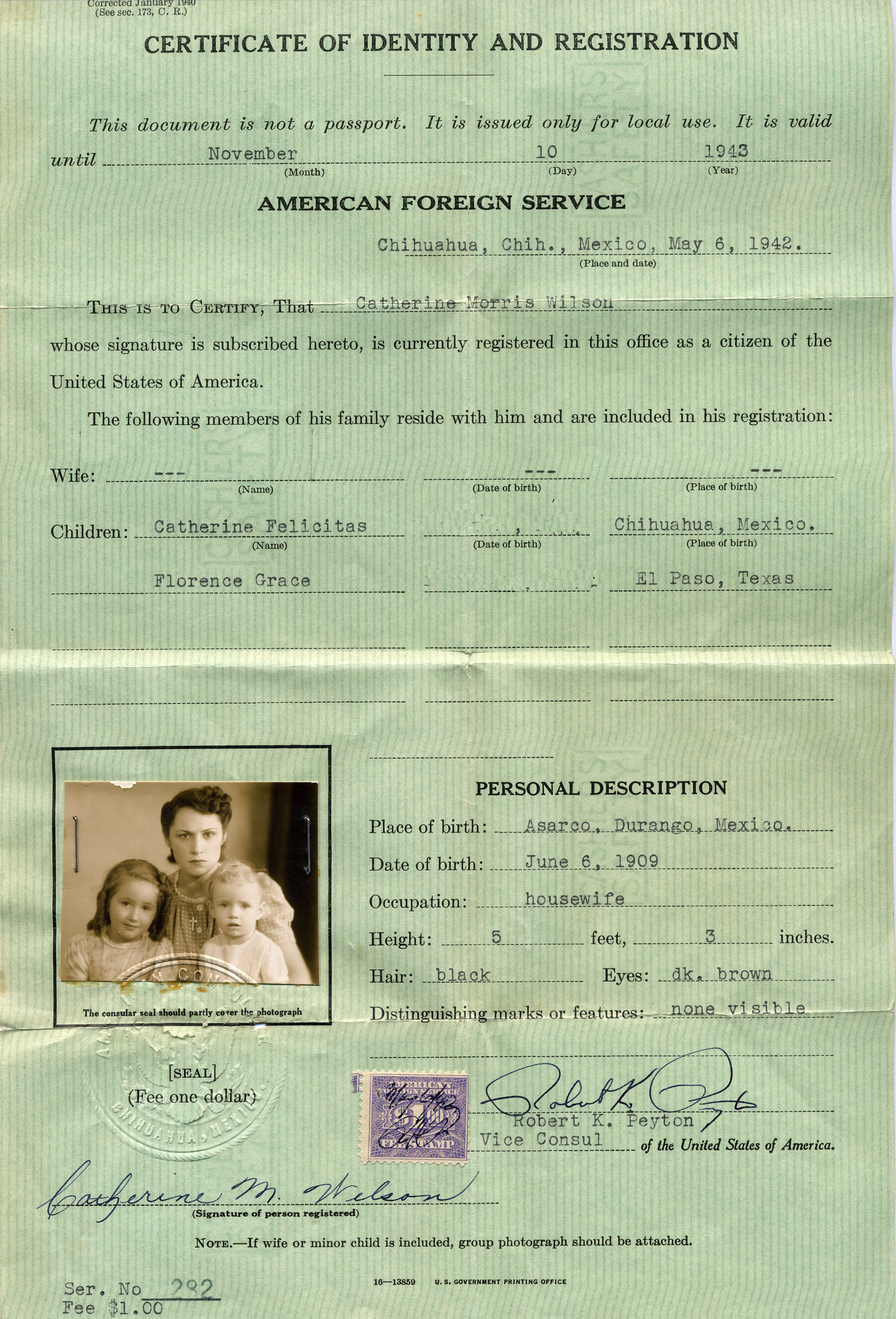 Certificate Of Identity And Registration 1942 Valoste Recuerdo